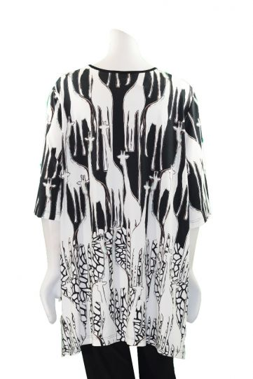 Chalou Plus Size Black/White Giraffe Tee Tunic S8300