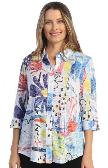 Jess & Jane Plus Size Multi Lulu Novelty Shirt SB1-1487X