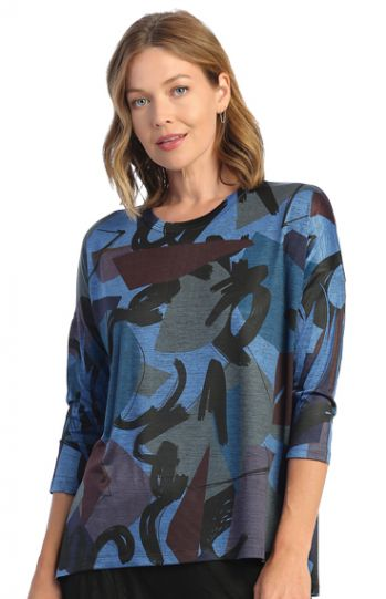 Jess & Jane Plus Size Blue Sydney Slinky Tunic SK1-1619X