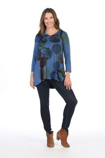 Jess & Jane Plus Size Blue Confetti Slinky Tunic SK2-1414X