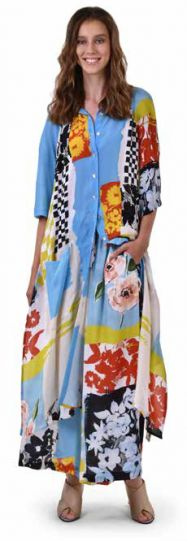 Alembika Blue Art Print Collared Maxi Dress SD610B