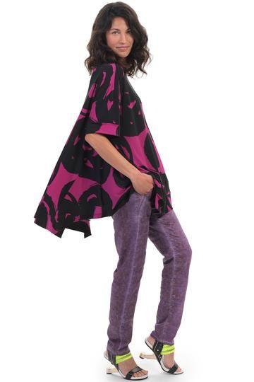 Alembika Violet Art Print Top ST317V