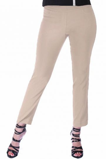 Multiples Plus Size Stone Wide Band Pull On Ankle Pant M2623PA