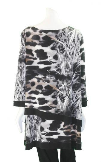 Eva Varro Plus Size Leopard Printed 2 Layer Tunic T12395D