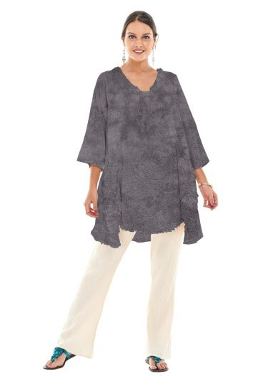 Oh My Gauze Washed Black Circle Pullover Tunic