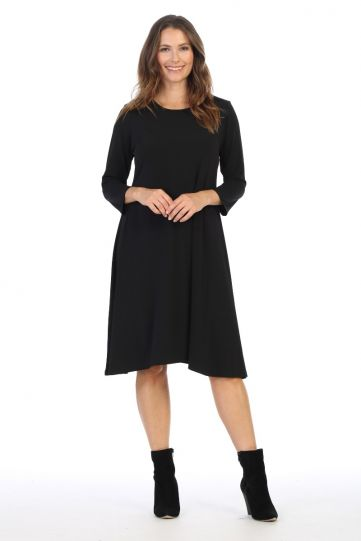 Jess & Jane Plus Size Black 3/4 Slv Dress Y6