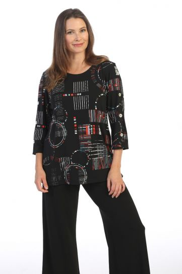 Jess & Jane Plus Size Black/Multi Sonorous Knit Top Y9-1472X