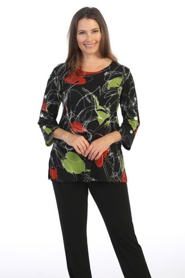 Jess & Jane Plus Size Multi Lovely Print Tunic Y9-1505X