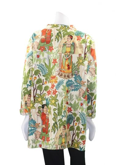 Citron Plus Size Cotton Frida Printed Long Shirt 0272FCF