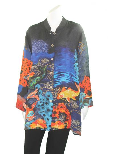 Citron Plus Size Black/Printed Button Shirt 0272RKP