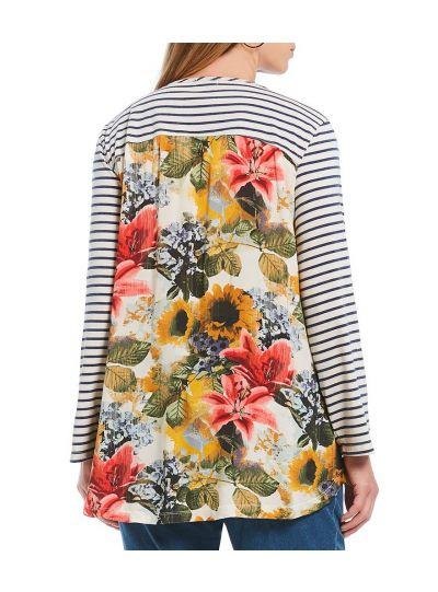 Multiples Plus Size Floral/Striped Flare Shape Tee M38416TW