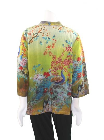 Citron Plus Size Multi Peacock Printed Button Blouse 1213CPT