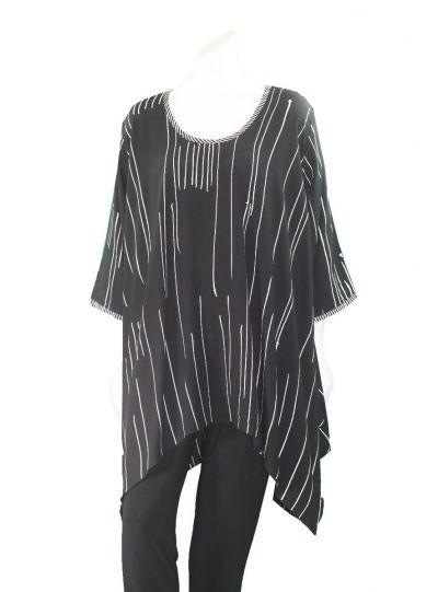 Lyng Designs Plus Size Black/White Tokyo Tunic 1262