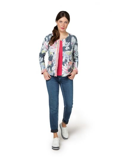 Doris Streich Plus Size Multi Floral 2 Pocket Front Jacket 322-147-98