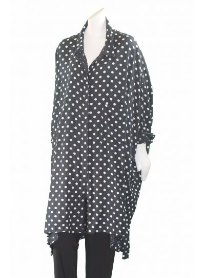 Moyuru Over Sized Black/White Polka Dot Long Button Front Blouse 173705