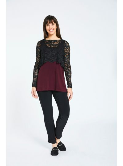 Sympli Black Lace Shorty Top 3220