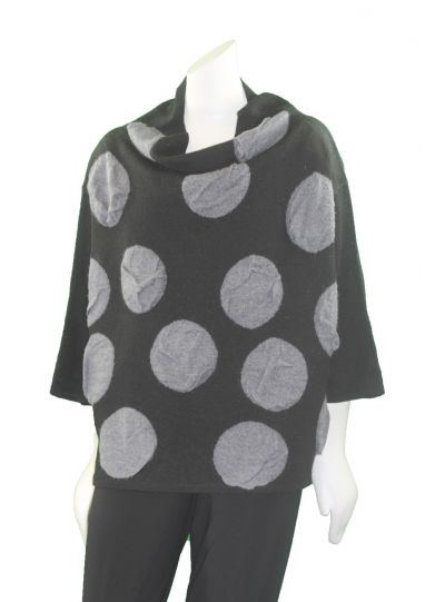 Moyuru Black/Grey Polka Dot Reversible Short Sweater 183302