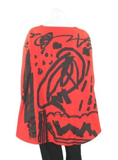 Moyuru Red Printed High Low Pullover Tunic 183409
