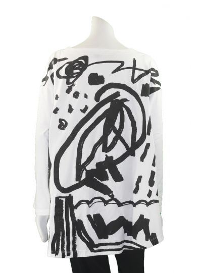 Moyuru White/Black Printed High Low Pullover Tunic 183409