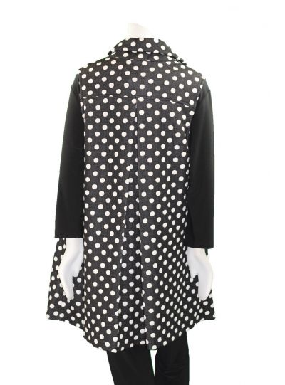 Yushi Black/White Polka Dot Button Front Vest 1876-19