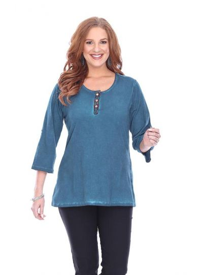 Parsley & Sage Plus Size Teal Pullover Tee 18F540CP