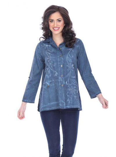Parsley & Sage Plus Size Denim Button Front Shirt 18F549GP
