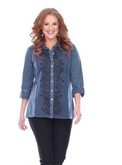 Parsley & Sage Plus Size Denim Live Shirt 18F551G1