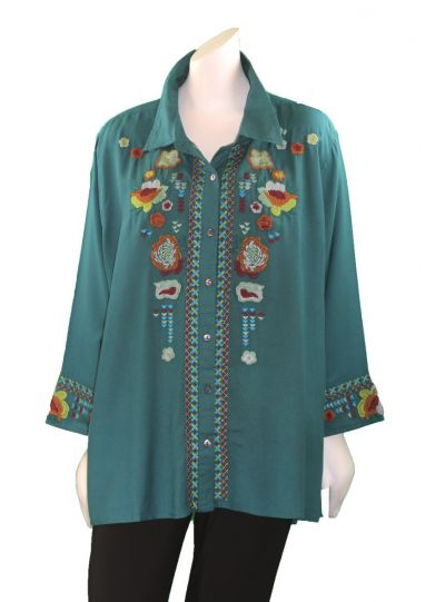 Parsley & Sage Plus Size Teal Embroidered Blouse 18W242G