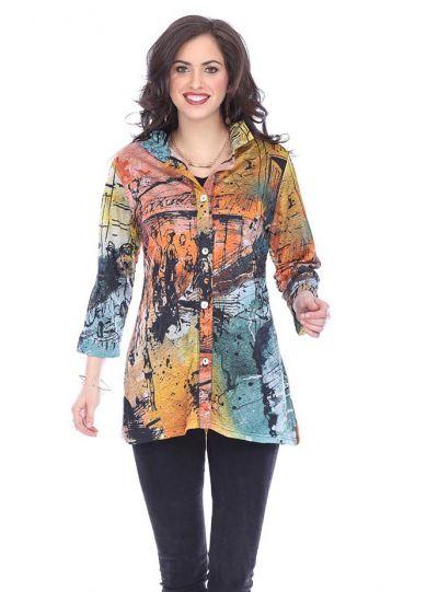 Parsley & Sage Plus Size Multi Vera Crinkle Shirt 18W268G1