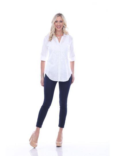 Parsley & Sage Plus Size White Janie Shirt 19T40G