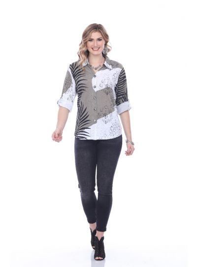 Parsley & Sage Plus Size Black/Tan Vivian Shirt 19T62G