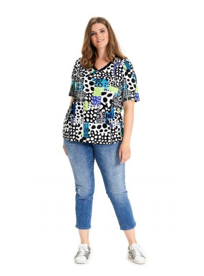 Chalou Plus Size Multi Color Gathered Tee CH8297