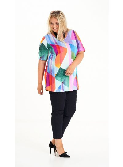 Chalou Plus Size Multi Color Open Short Sleeve Tunic S8334N