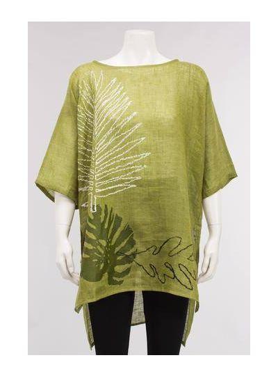 Igor Magnus Green Light/Airy Leaf Print Pullover Tunic S18-90
