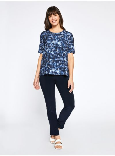Sympli Marbled Navy Go To Boxy T 22180-2