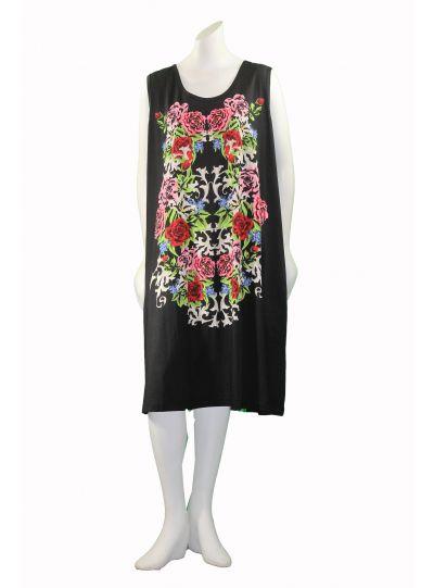 La Cera Plus Size Black/Multi Printed Sleeveless Pullover Dress 2525XL
