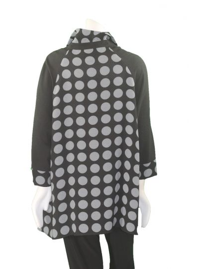 Moonlight Black/Grey Polka Dot Button Front Jacket 2584