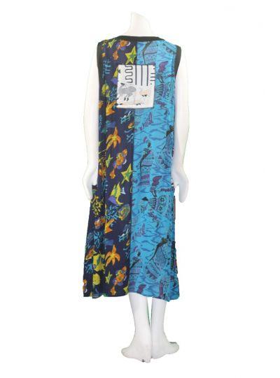 La Cera Plus Size Patchwork Button Front Dress 2746XL