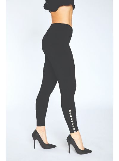 Sympli Black Diva Legging Metal Buttons 2771A