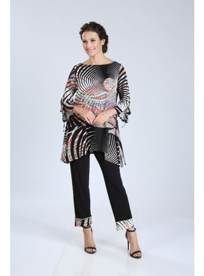 IC Collection Multi Printed Asymmetrical Hem Tunic 3027T