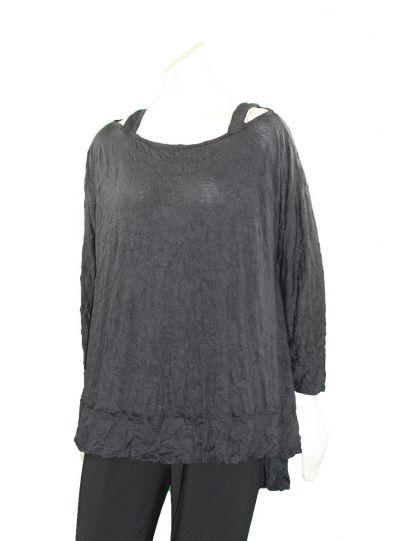 Comfy Plus Size Black Crinkle Cold Shoulder Tunic C638