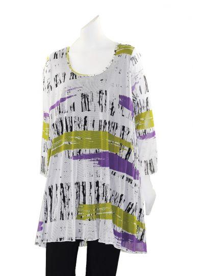 Comfy Plus Size White/Black/Purple Multi Printed Sheer Tunic ES1142