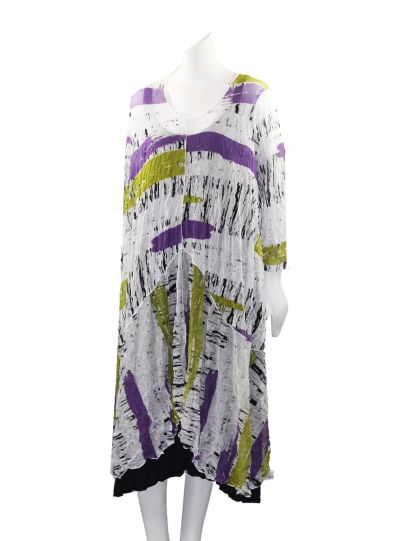 Comfy Plus Size Crinkle White Printed Sheer Long Tunic ES1128