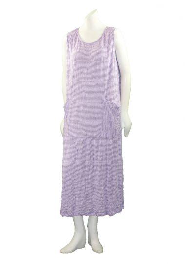 Comfy Plus Size Violet Striped Crinkle 2 Pocket Dress C335