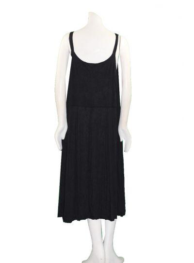 Comfy Plus Size Black Crinkle Sleeveless Dress C334