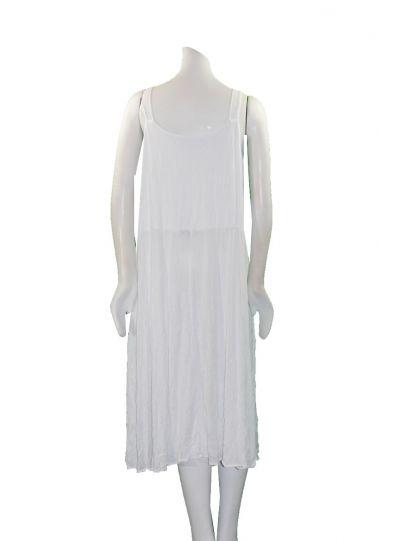 Comfy Plus Size White Crinkle Sleeveless Dress C334