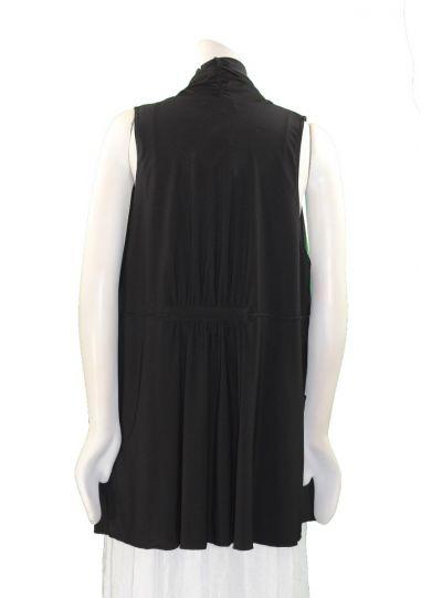 Comfy Plus Size Black Open Front Vest SK516