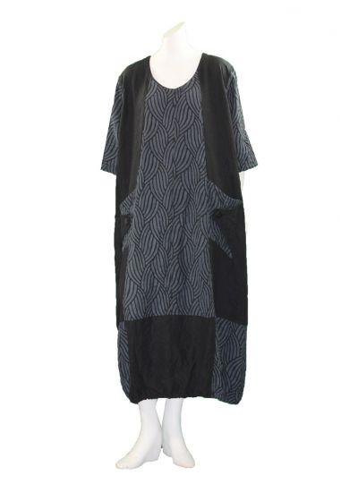 Prisa Black/Navy Wave Crinkle Pullover Dress 3320C