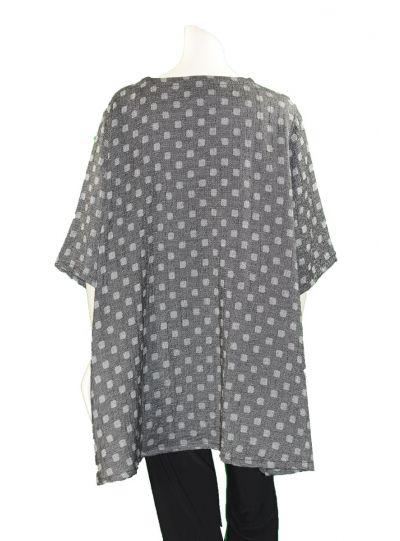 Prisa Grey Square Polka Dot One Pocket Tunic 3361C