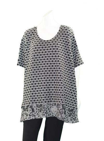 Prisa Grey/Black Polka Dot Pullover Tunic 3381C